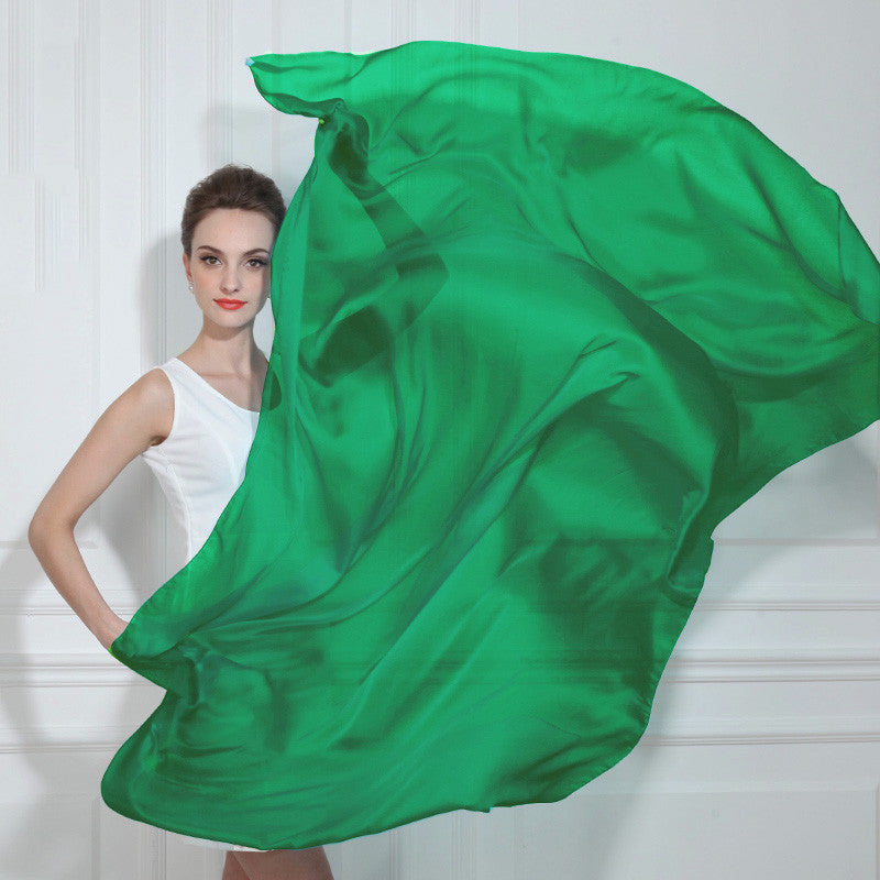 Emerald Green Silk Chiffon Scarf - Green Silk Scarf - Large Silk Shaw - SS44