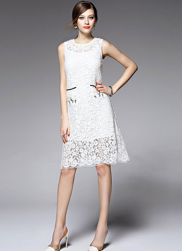 Sleeveless White Aline Lace Mini Dress with 3D Floral Applique Eyelash Details