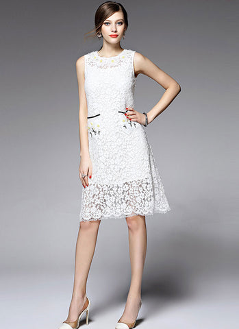 Sleeveless White Aline Lace Mini Dress with 3D Floral Applique Eyelash Details MN35