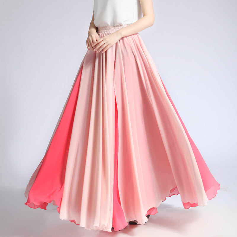 Coral Red and Light Pink Maxi Skirt