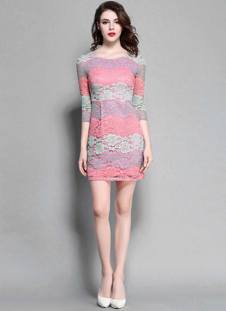 Multi Colored Lace Sheath Mini Dress with Half Sleeves