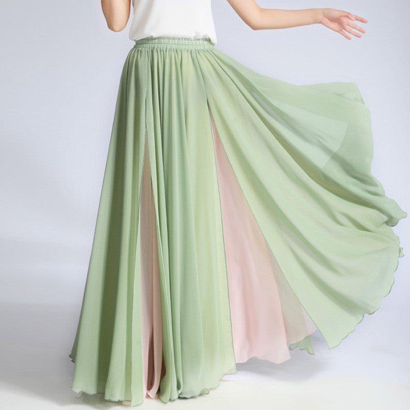 Mint Green and Beige Maxi Skirt - Contrast Colored Maxi Skirt
