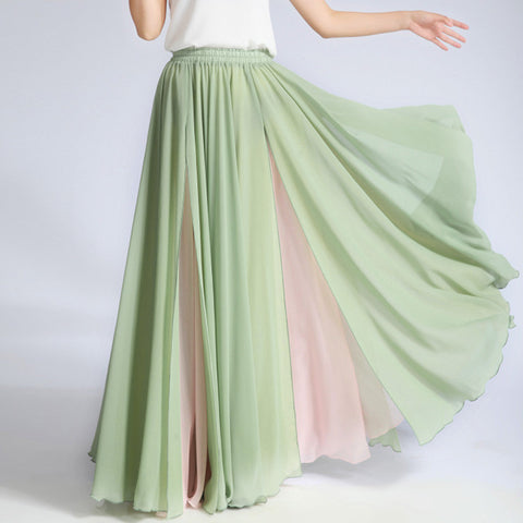 Mint Green and Beige Maxi Skirt - Contrast Colored Maxi Skirt - Long Layered Chiffon Skirt - SK6b