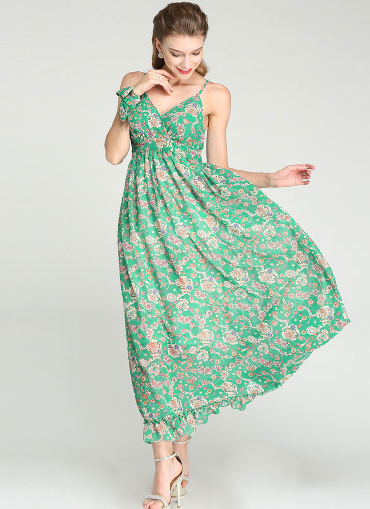 Hight Waisted Green Maxi Dress with Jewelry Print and Spaghetti Straps