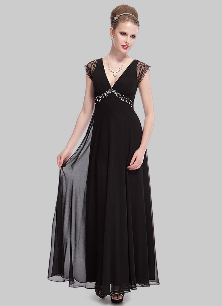 Empire Waisted Black Evening Gown with Lace Cap Sleeves and Cabochon Details