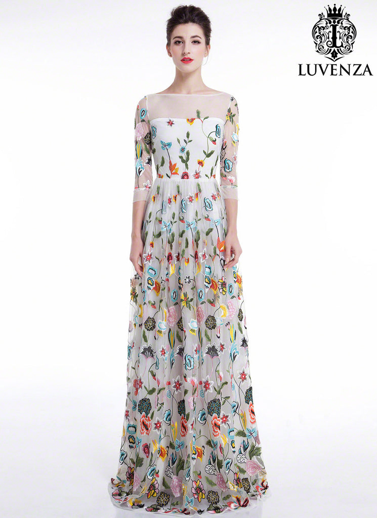 White Tulle Floor Length Evening Dress with Floral Accents Colorful Embroidery and Sheer Long Sleeves