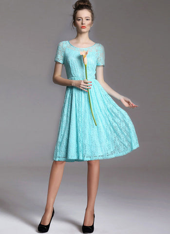 Aqua Lace Fit and Flare Mini Dress with Keyhole Back RD353