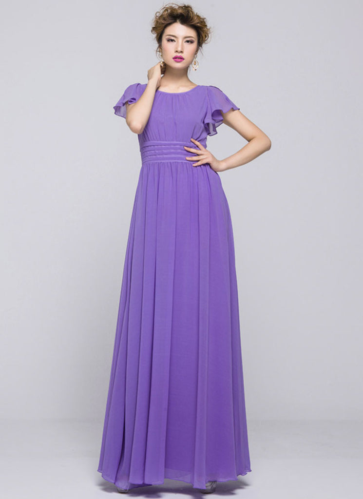 Purple Maxi Dress with Pleated Waist Yoke and Flutter Sleeves