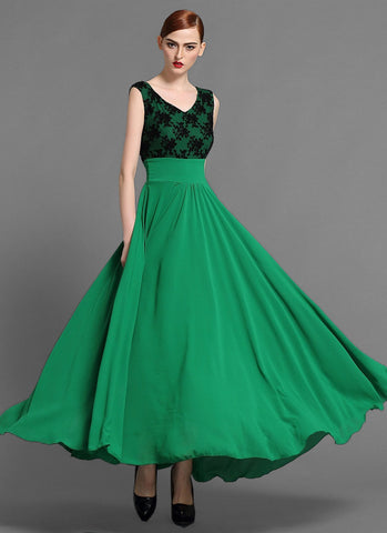 V Neck Green Chiffon Maxi Dress with Black Lace Top MX33