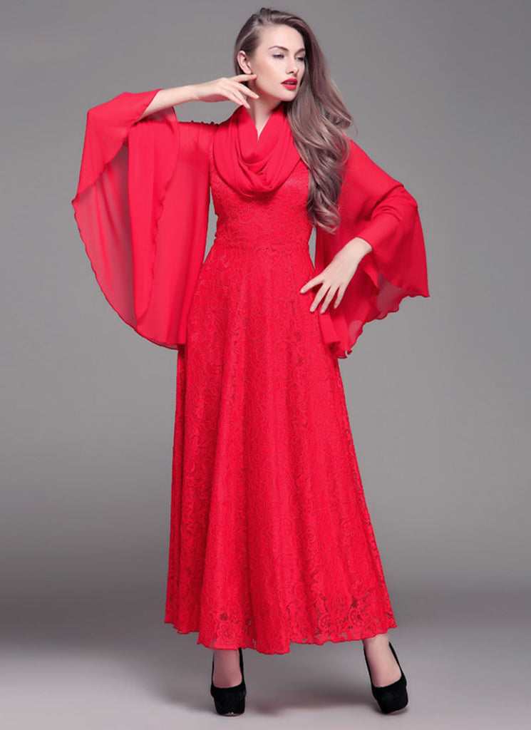 Red Lace Maxi Dress with Oversized Angel Sleeves
