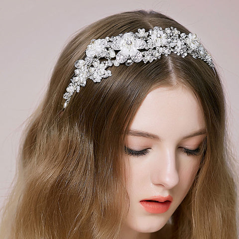 Hand Wired Bridal Headpiece - Crystal Wreath with Floral Pattern - Pearl and Crystal Bridal Halo HP15