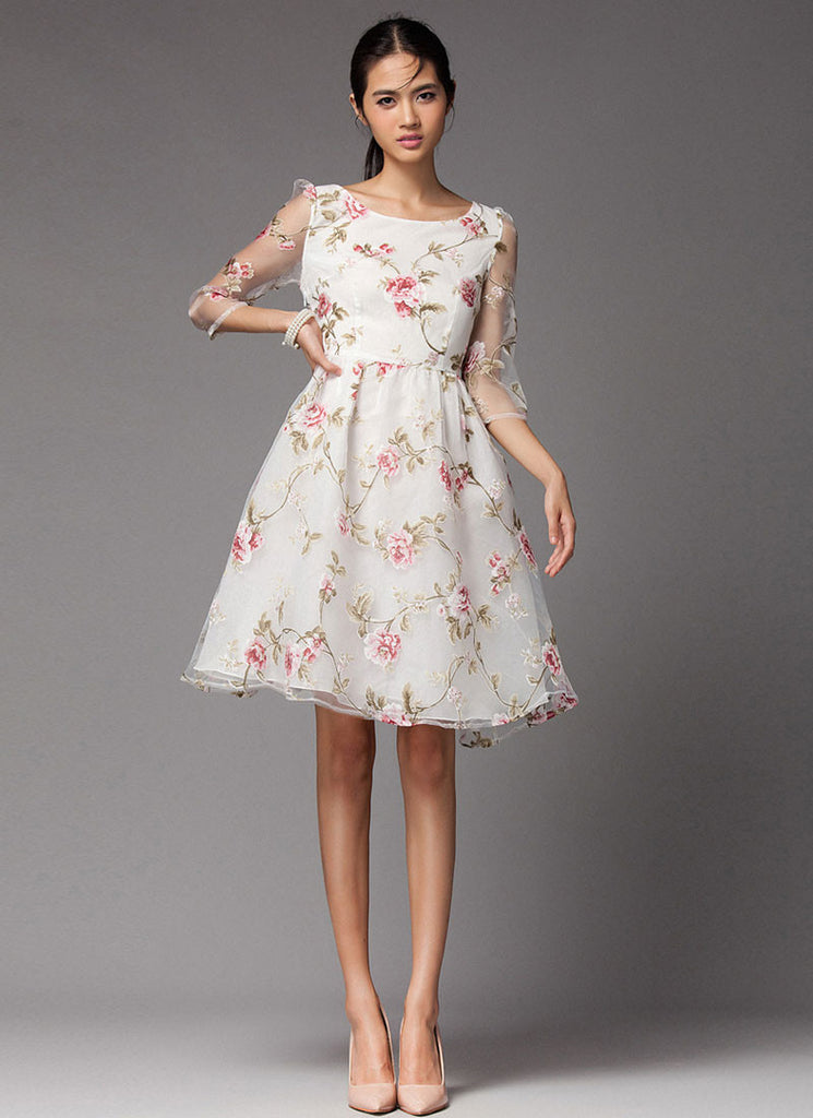 Floral Printed Organza Mini Dress with Half Sleeves