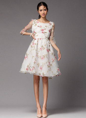 Floral Printed Organza Mini Dress with Half Sleeves RD333