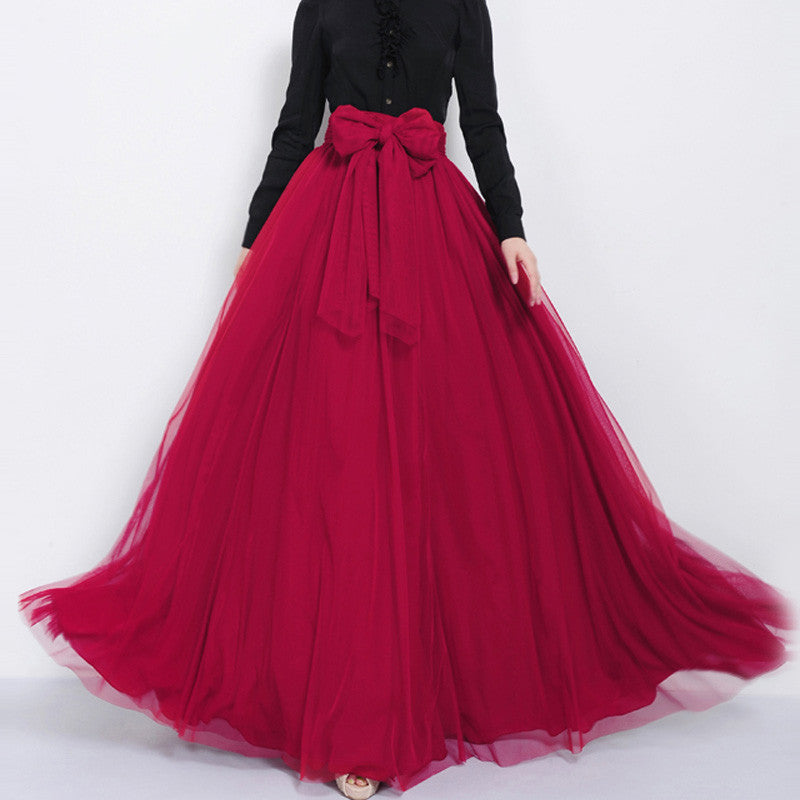 Dark Red Tulle Maxi Skirt with Bow Sash and Extra Wide Hem