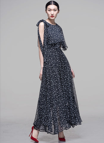 One Shoulder Open Shoulder Black Polka Dot Maxi Dress with Layered Top MX4