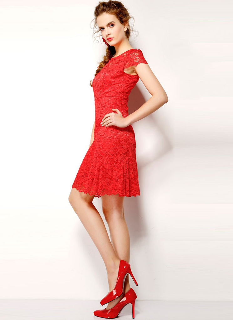 V Back Red Lace Sheath Dress with Flounce Skirt Hem and Cap Sleeves
