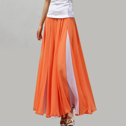White and Orange Maxi Skirt - Contrast Colored Maxi Skirt - Long Layered Chiffon Skirt - SK6g
