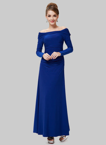 Off-Shoulder Blue Maxi Dress with Long Sleeves RM487