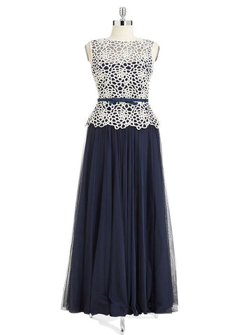 Navy Maxi Dress with White Lace Top RM 331