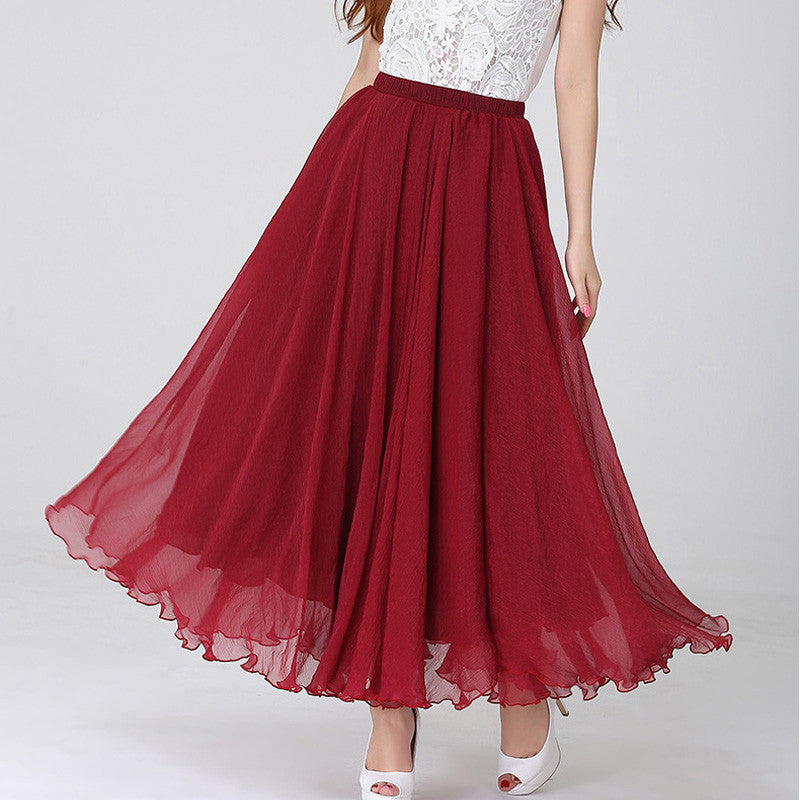 Dark Red Chiffon Maxi Skirt with Extra Wide Hem