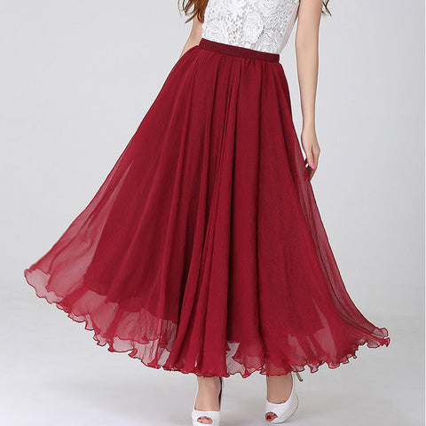 Dark Red Chiffon Maxi Skirt with Extra Wide Hem - Long Maroon Chiffon Skirt - SK1e