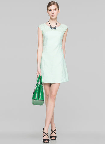 Light Mint Green Aline Mini Dress with Lace Details MN68