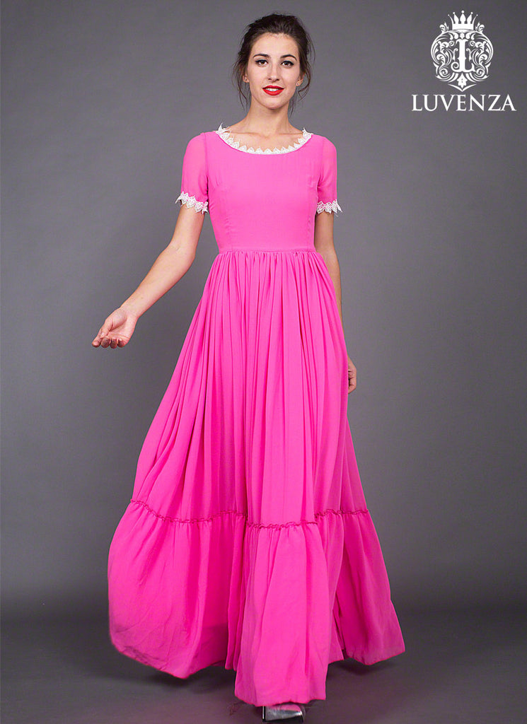 Fuchsia Chiffon Maxi Dress with Ruffled Skirt and White Lace Details