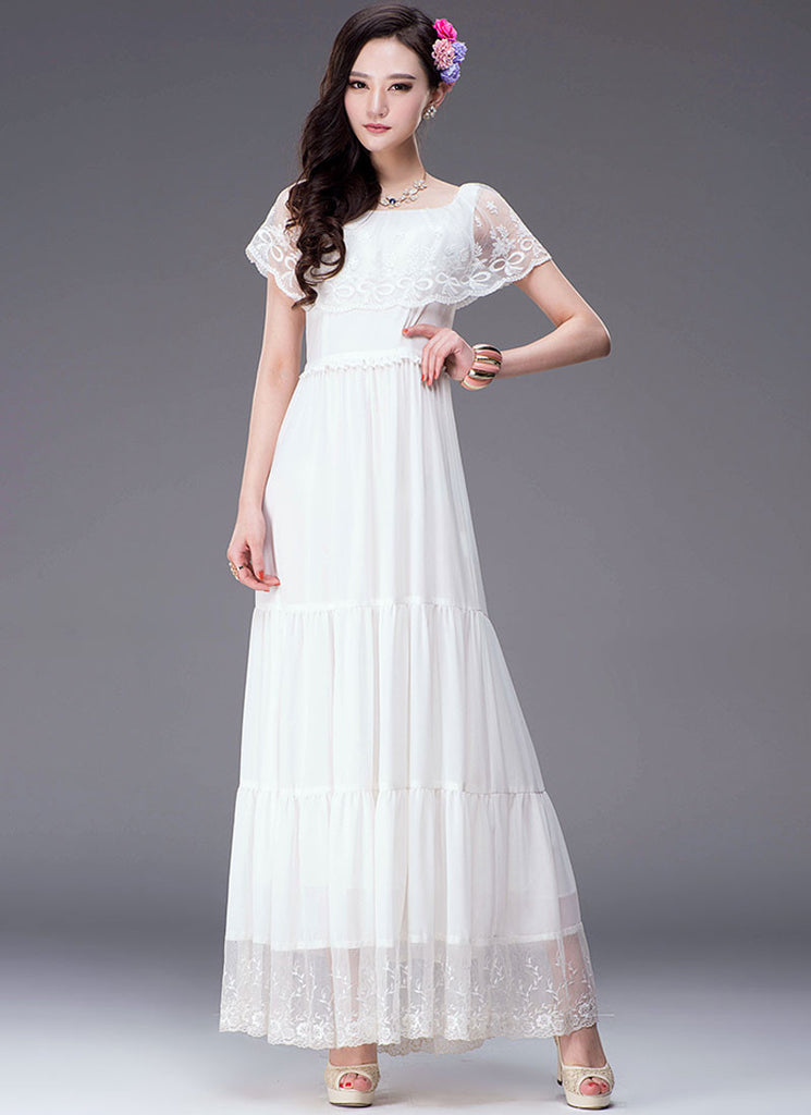 Tiered White Lace Chiffon Maxi Dress with Tiny Cape