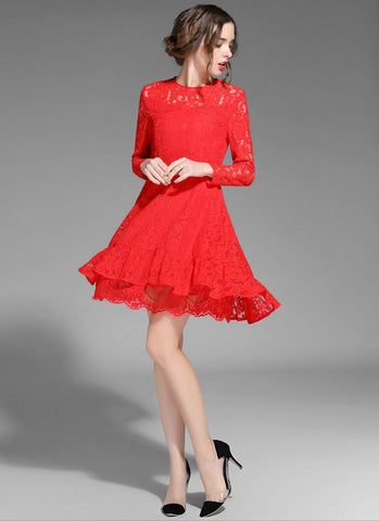 Long Sleeve Red Lace Fit and Flare Mini Dress with Layered Skirt MN60