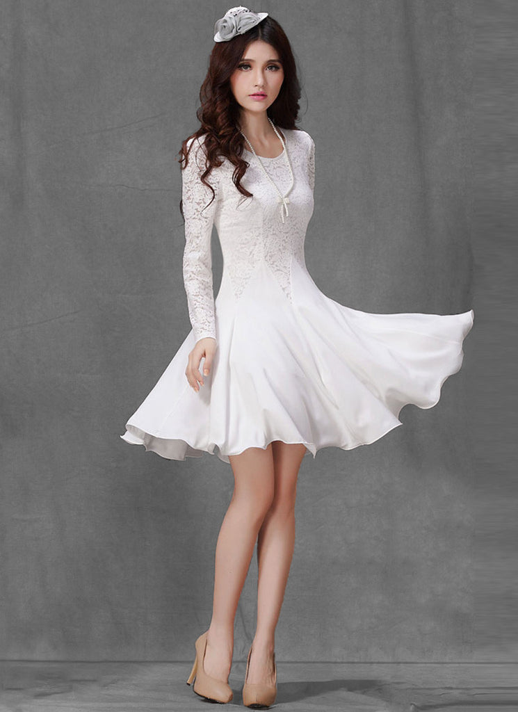 White Lace Fit and Flare Mini Dress with Long Sleeves R4
