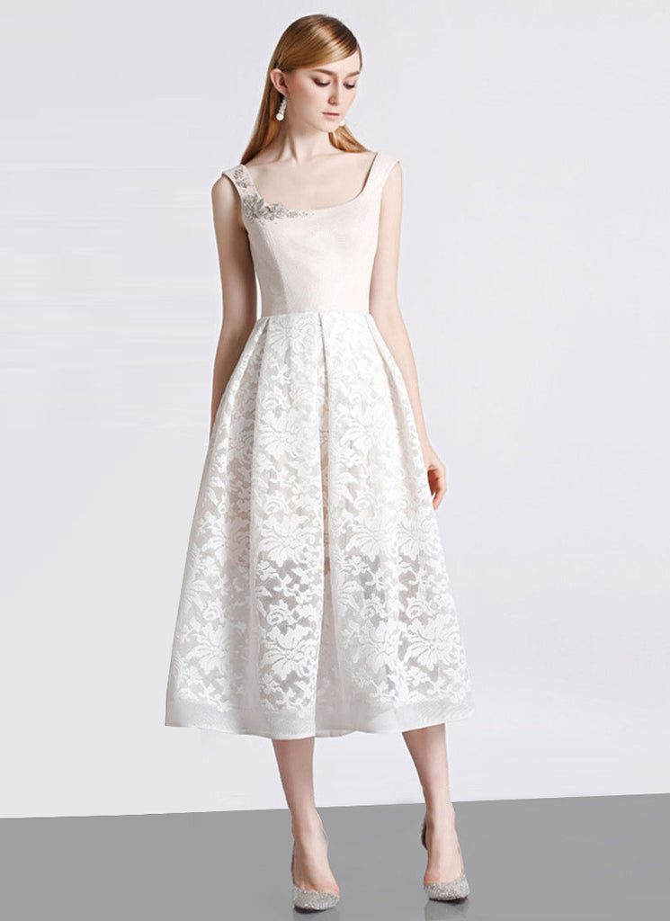 Open Back Cream White Lace Aline Midi Dress with Beige Top and Lining