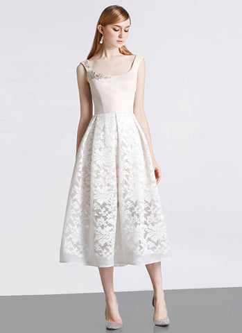Open Back Cream White Lace Aline Midi Dress with Beige Top and Lining MD100