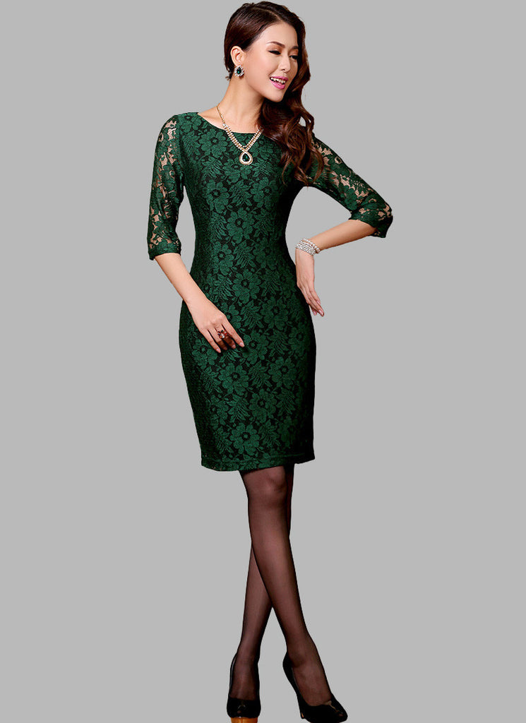 Half Sleeve Dark Green Lace Sheath Dress with Black Lining