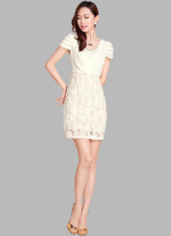 Ivory Lace Mini Dress with 3D Appliqué Skirt RD218