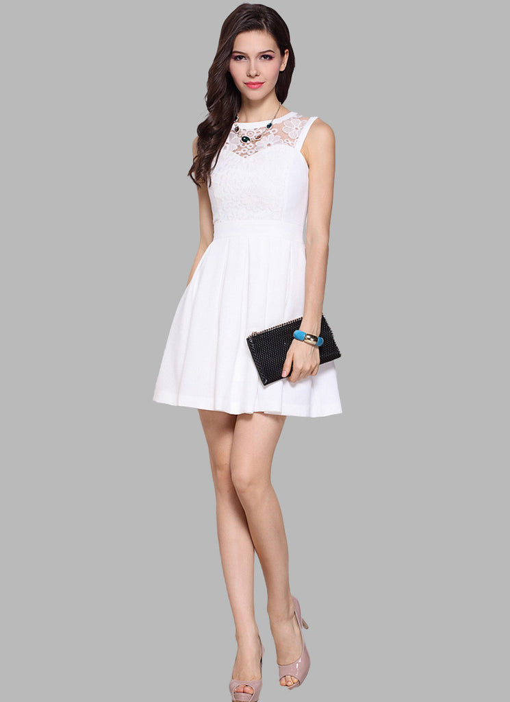 White Fit and Flare Mini Dress with Embroidery Details