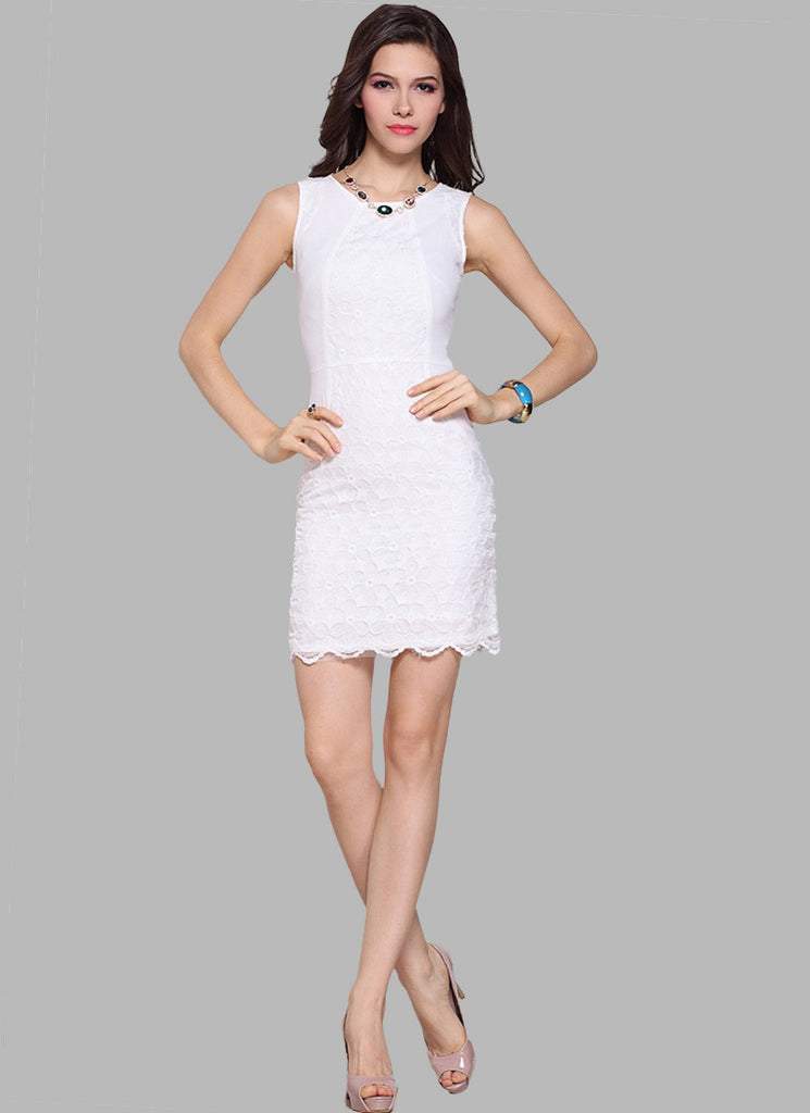White Mini Dress with Floral Organza Lace Overlay