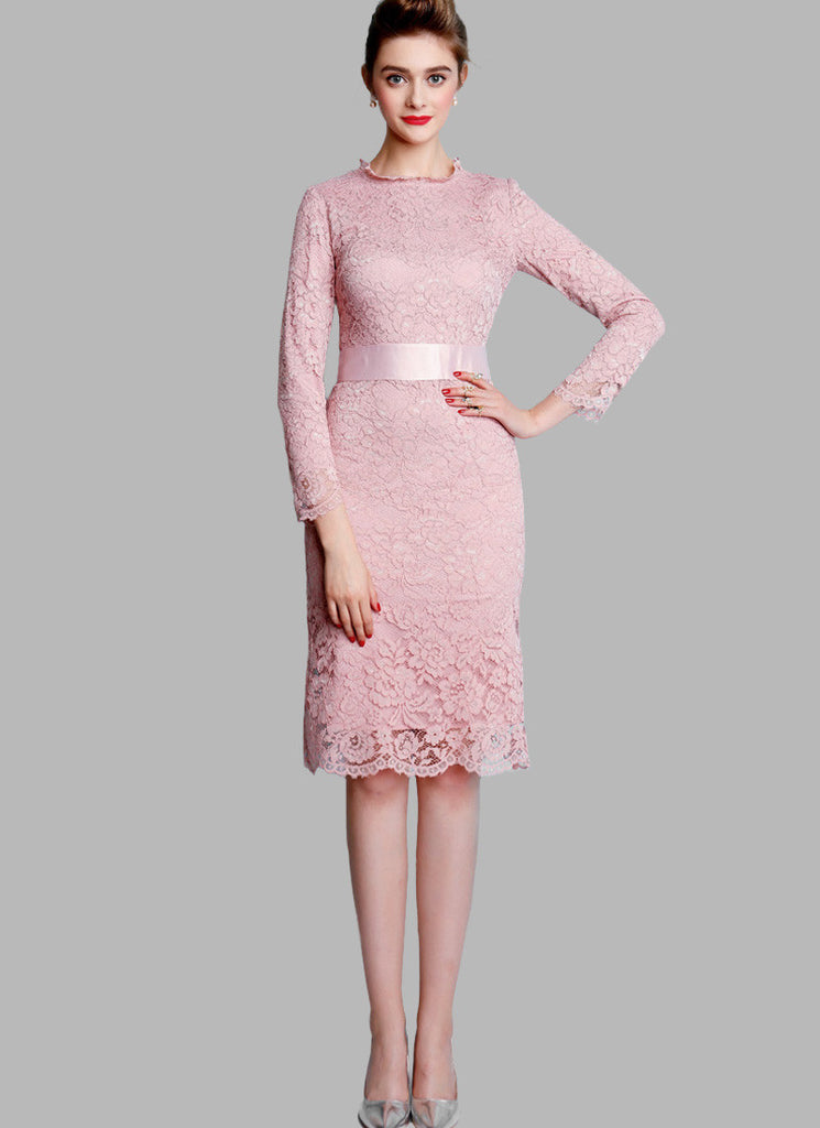 Dusty Rose Pink Lace Mini Dress with Satin Waist Yoke and Long Sleeves