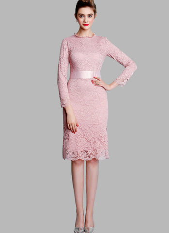 Dusty Rose Pink Lace Mini Dress with Satin Waist Yoke and Long Sleeves RD514
