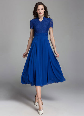 Blue Lace Chiffon Midi Dress with Modified Queen Ann Neck and Ruched Waist MD4