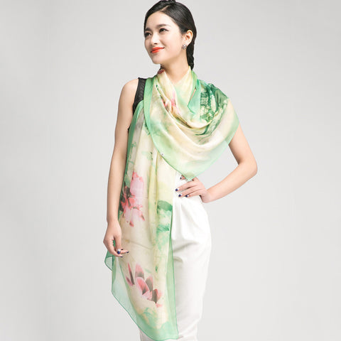Light Green Silk Chiffon Scarf with Oriental Lotus Print - Large Silk Georgette Scarf Shaw PS3-1