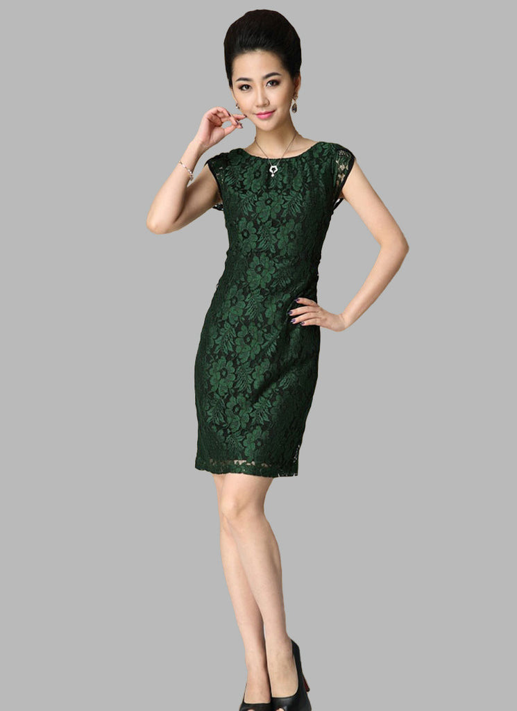 Cap Sleeve Dark Green Lace Sheath Dress with Black Lining
