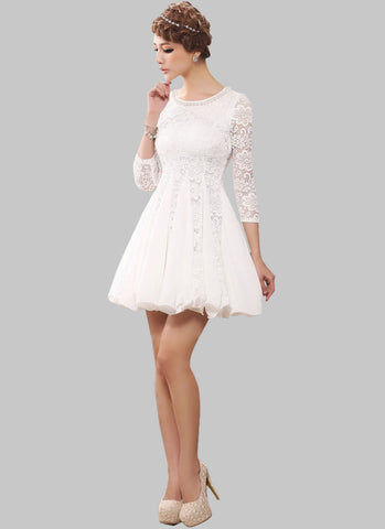 White Lace Fit and Flare Mini Dress with Beaded Neckline RD307