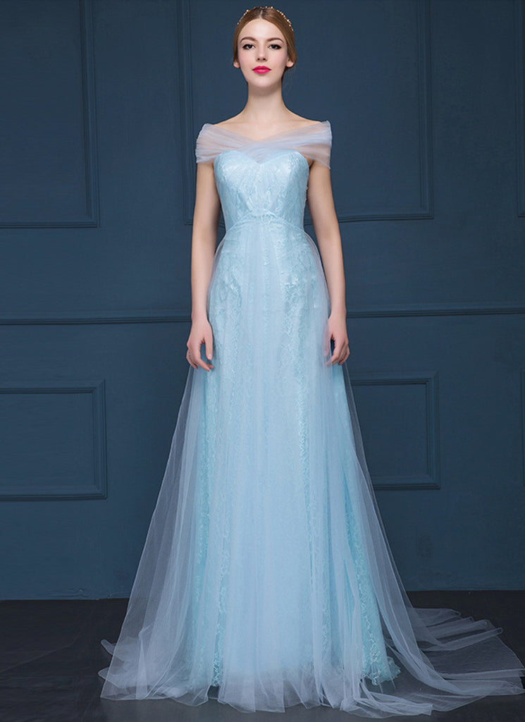 Light Gray (Grey) Lace Evening Gown with Sheer Tulle Overlay RM629 ...