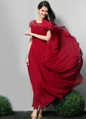 Crimson (Red) Lace Chiffon Maxi Dress with Cap Sleeves RM557