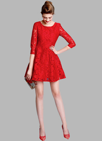 Elbow Sleeved Red Lace Fit and Flare Dress Mini Length RD515