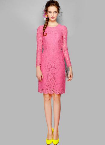 Long Sleeve Pink Lace Sheath Dress with Scallop and Eyelash Details - RD234