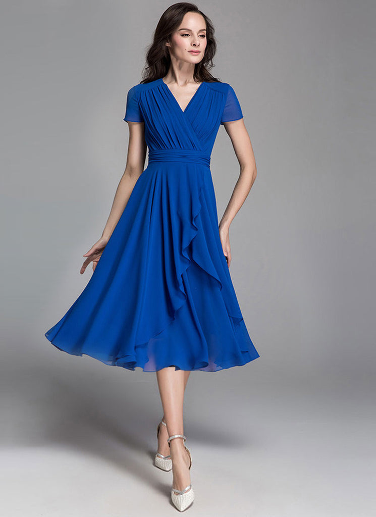 V Neck Blue Chiffon Midi Dress with Ruched Waist and Asymmetric Skirt