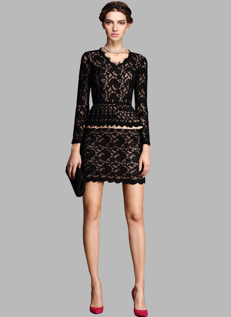 Black Lace Peplum Mini Dress with Nude Lining