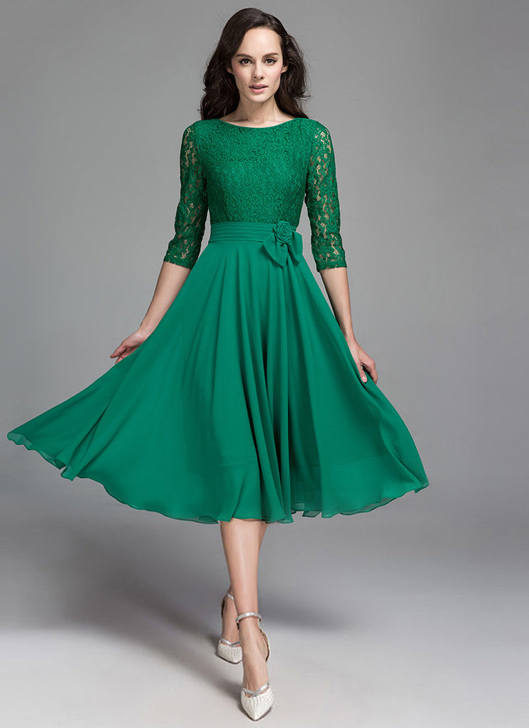Green Lace Chiffon Midi Dress with Pleated Waist and Floral Embellishment