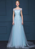 Light Blue Lace Evening Gown with Sheer Tulle Overlay